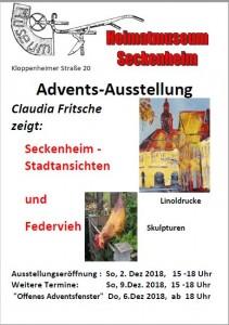 Adventsausstellung im Seckenheimer Heimatmuseum mit Lenoldrucken von Claudia Fritsche